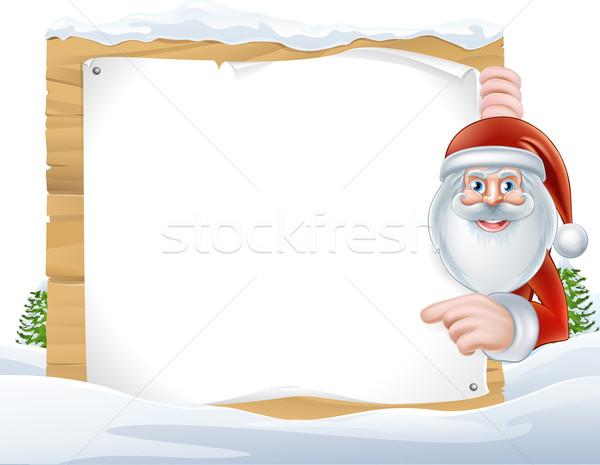Christmas Cartoon Santa Claus Sign Stock photo © Krisdog