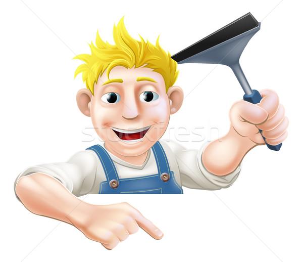 Indicação limpador de janelas ilustração para baixo assinar Foto stock © Krisdog