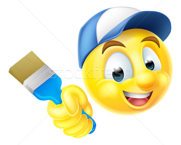 Painter Emoji Emoticon with Paintbrush Stock photo © Krisdog