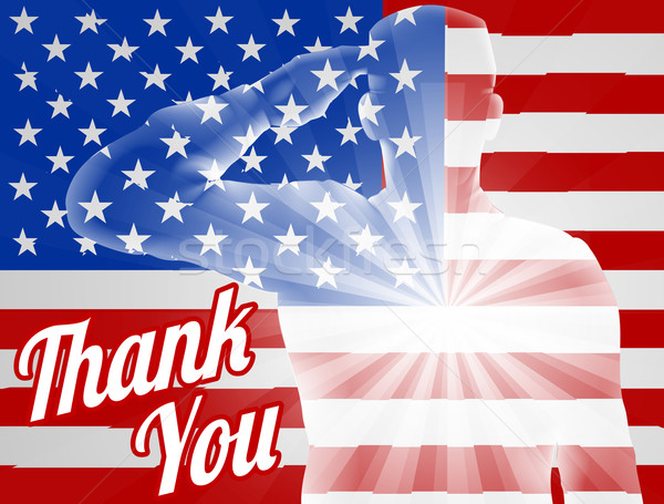 Nap köszönjük amerikai zászló katona terv háttér Stock fotó © Krisdog