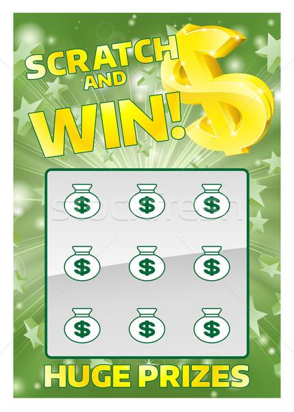 Lotteria immediato scratch carta illustrazione vincere Foto d'archivio © Krisdog