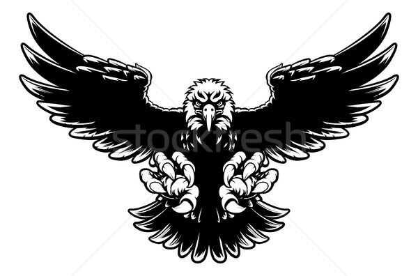 Adelaar mascotte zwart wit amerikaanse kaal Stockfoto © Krisdog