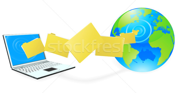 Ordinateur portable fichiers internet ordinateur monde Photo stock © Krisdog