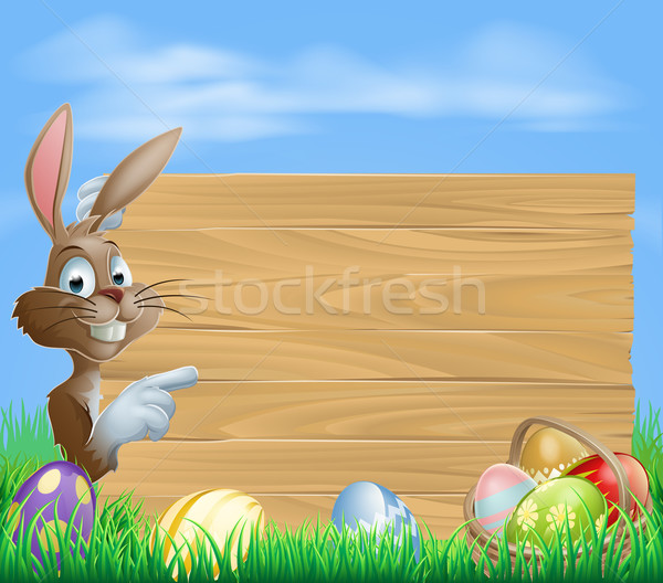 Easter bunny and Eggs with wooden sign Stock photo © Krisdog