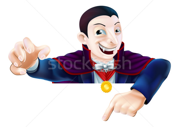 Halloween Cartoon Dracula Pointing Stock photo © Krisdog