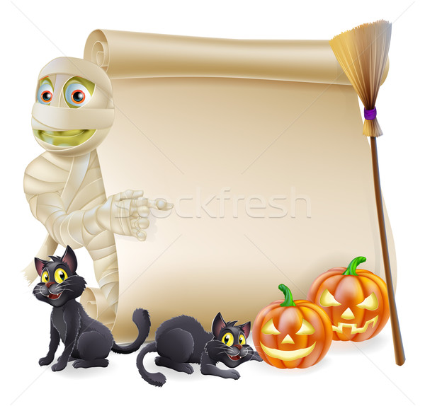 Mummy Scroll Halloween Banner Stock photo © Krisdog