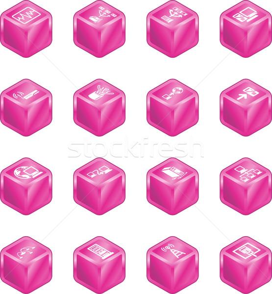 Network Computing Cube Icons Series Set.  Stock photo © Krisdog