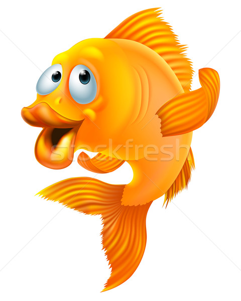 Goldfish cartoon illustrazione felice Foto d'archivio © Krisdog