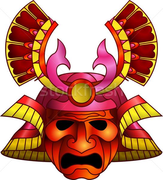 Vermelho samurai máscara ilustração laranja magenta Foto stock © Krisdog