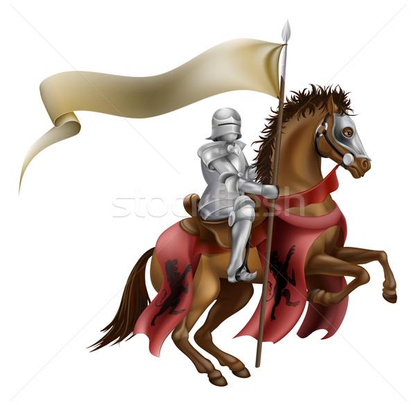 Middeleeuwse ridder paard pantser paardrijden paardenrug Stockfoto © Krisdog