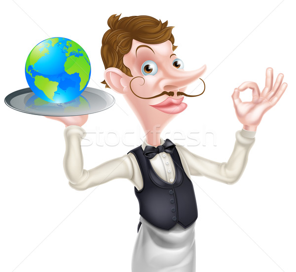 Kelner świecie świat żywności szykowny patrząc Zdjęcia stock © Krisdog