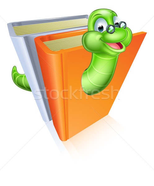 Boekenworm cartoon cartoon mascotte bril uit Stockfoto © Krisdog
