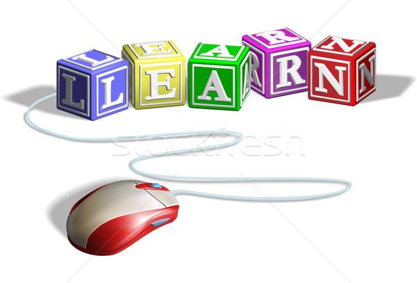 Mouse aprender blocos alfabeto carta palavra Foto stock © Krisdog