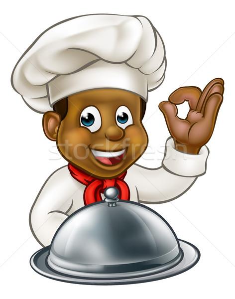 Black Chef Cartoon Character Mascot Stock photo © Krisdog