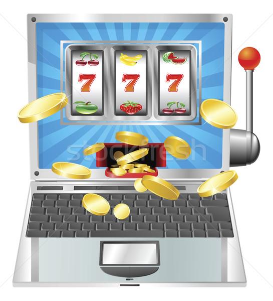 Laptop caça-níqueis fruto máquina on-line jogos de azar Foto stock © Krisdog