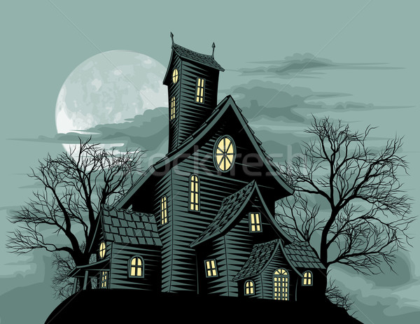 Stock photo: Creepy haunted ghost house scene illustration