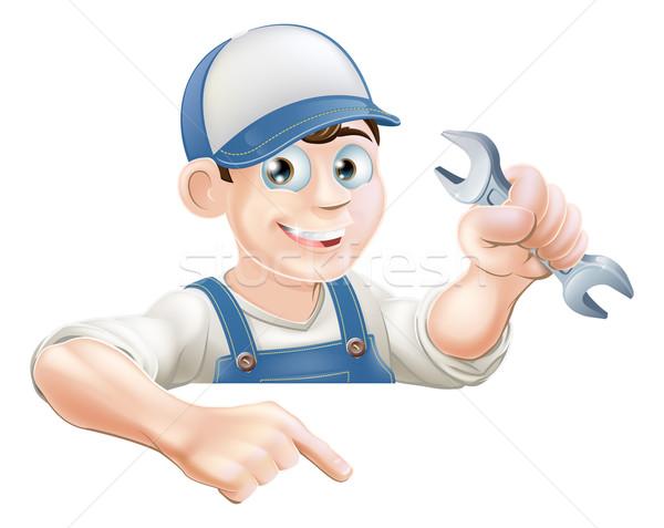 Cartoon mécanicien signe plombier clé bannière Photo stock © Krisdog