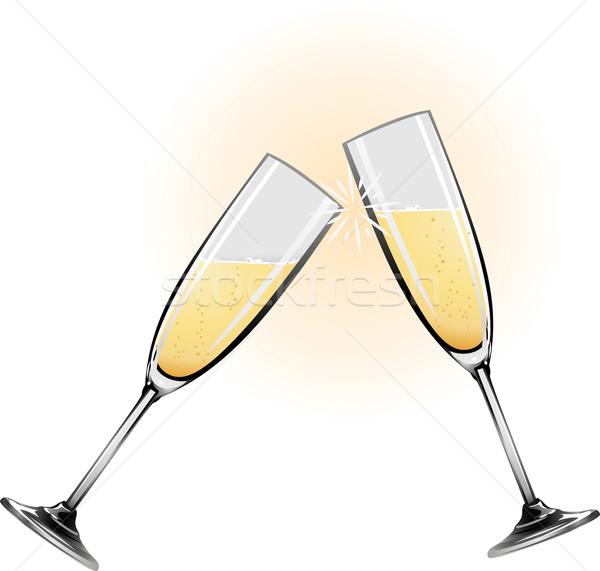 Illustration of champagne glasses Stock photo © Krisdog