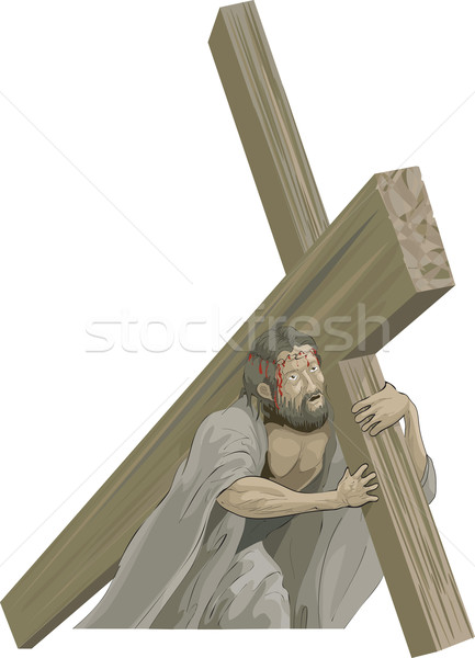 Christ bearing the cross to the crucifixion  Stock photo © Krisdog