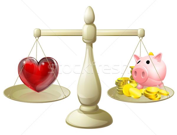 Stock photo: Love or money balance concept