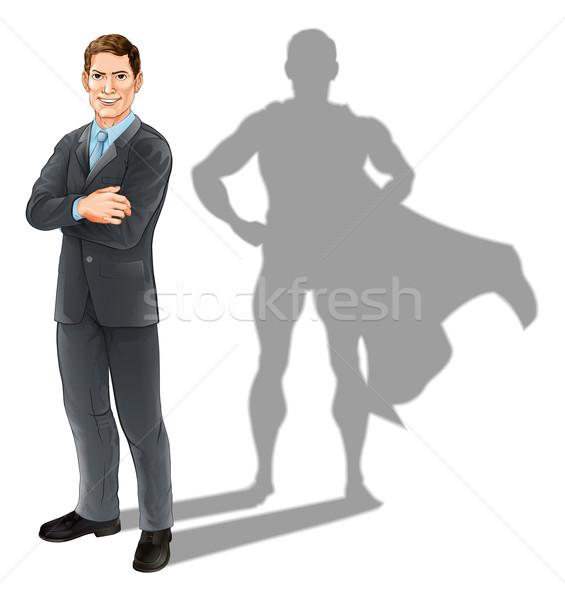 Imprenditore eroe illustrazione bello uomo d'affari piedi Foto d'archivio © Krisdog