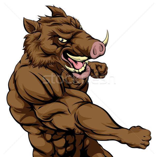Stock photo: Boar sports mascot fighting