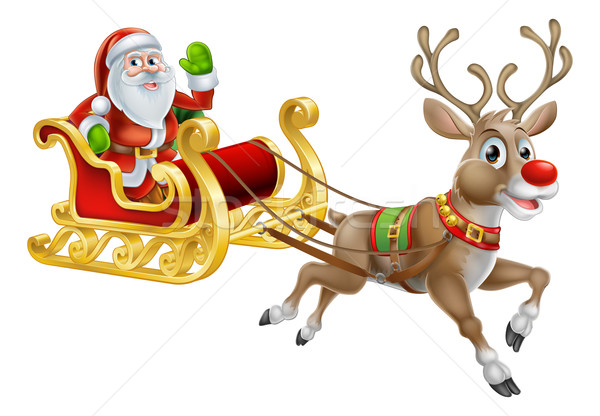 Santa Christmas Sleigh Sled Stock photo © Krisdog