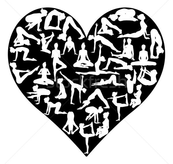Yoga pilates coeur forme de coeur silhouettes amour Photo stock © Krisdog