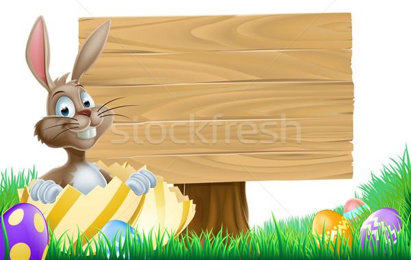 Stockfoto: Cartoon · easter · egg · bunny · teken · houten · Pasen