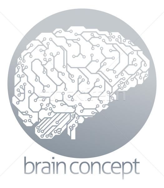 商业照片 / 矢量图: 电子 · 大脑 · 圆 · 插图 · 电动 · 电路板