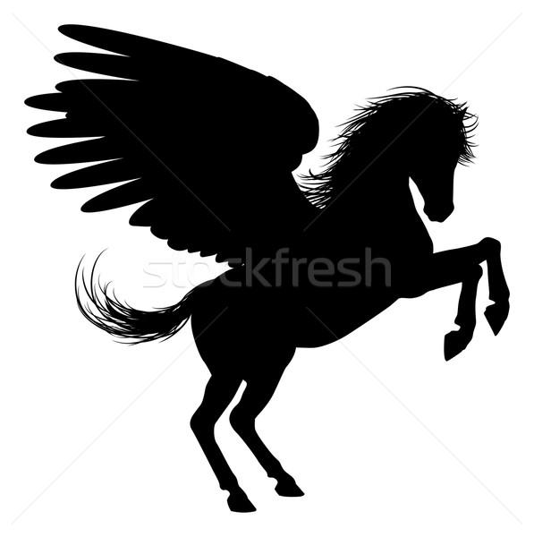 Hind Legs Pegasus Silhouette Stock photo © Krisdog