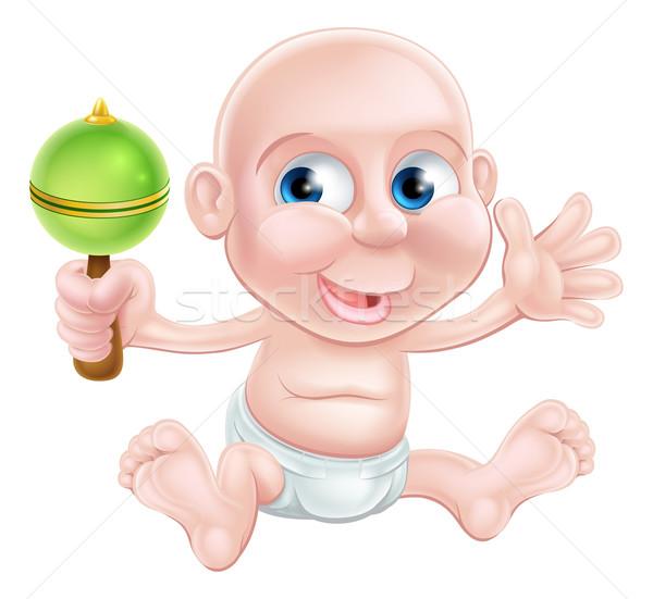 Happy cartoon rattle baby Stock photo © Krisdog