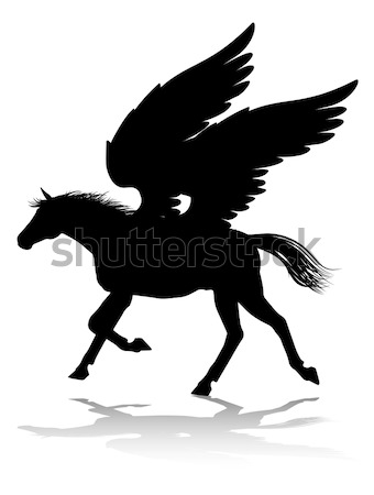 Pegasus Winged Horse Silhouette Stock photo © Krisdog