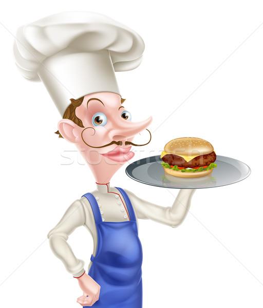Rajz szakács hamburger illusztráció tart tálca Stock fotó © Krisdog