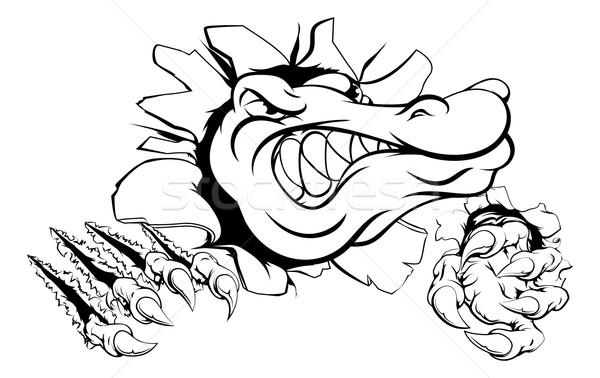 Krokodyla aligator ściany cartoon głowie Zdjęcia stock © Krisdog