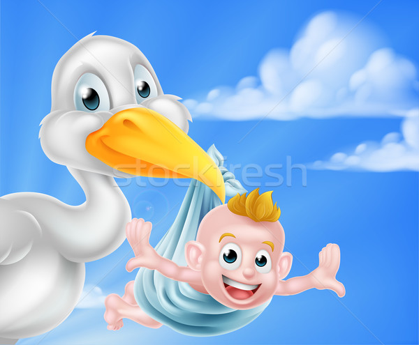 Cartoon stork holding baby Stock photo © Krisdog