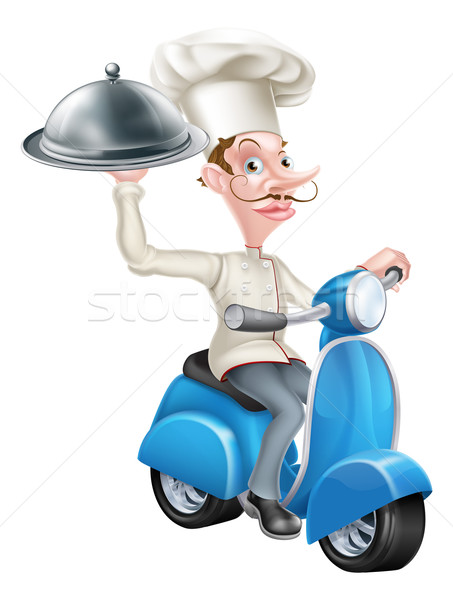 Chef on Scooter Moped Delivering Food Stock photo © Krisdog