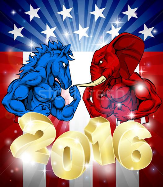 Elefant lupta măgar 2016 alegere prezidential Imagine de stoc © Krisdog