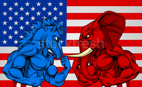 Politics American Election Concept Donkey vs Elephant Stock photo © Krisdog