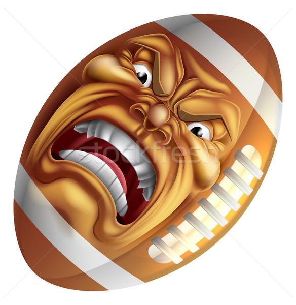 Angry American Football Ball Sports Cartoon Mascot Stock photo © Krisdog