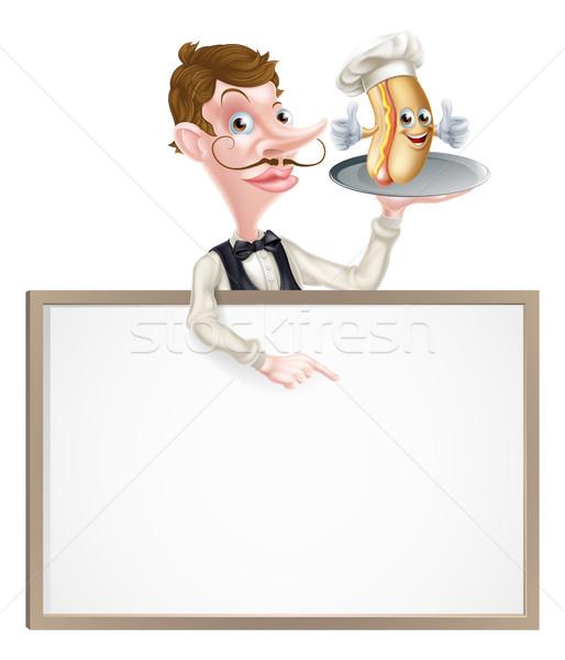 Cartoon Hotdog Waiter Sign Stock photo © Krisdog