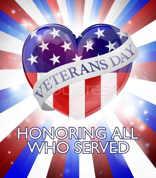 Veterans Day Heart Design Stock photo © Krisdog