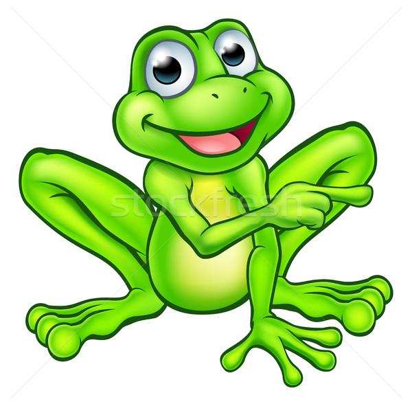 Cartoon Frog Pointing Stock photo © Krisdog
