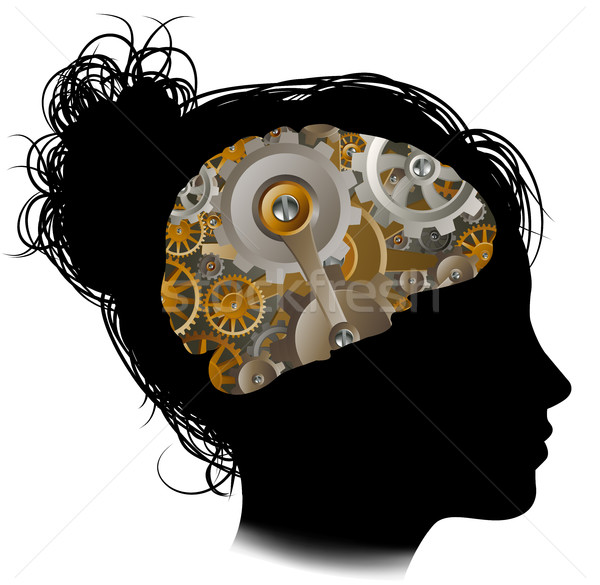 Macchina attrezzi cervello donna silhouette Foto d'archivio © Krisdog