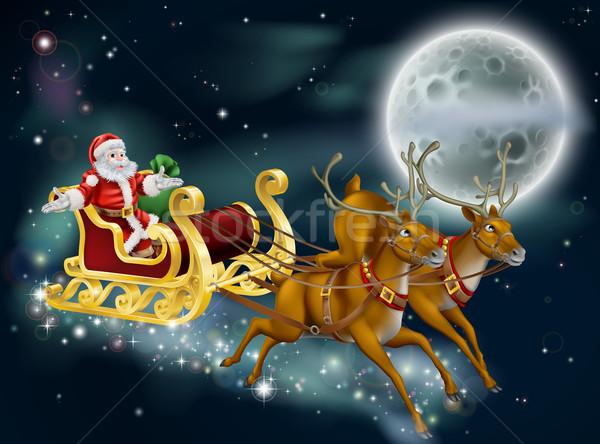 Santa on Delivering Gifts on Christmas Eve Stock photo © Krisdog