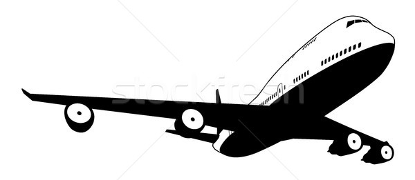 Feketefehér repülőgép illusztráció kereskedelmi repülőgép üzlet Stock fotó © Krisdog