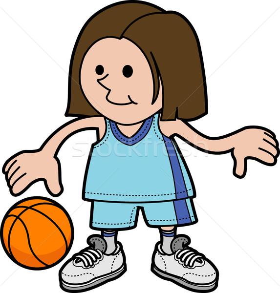 Illusztráció lány játszik kosárlabda fiatal lány boldog Stock fotó © Krisdog