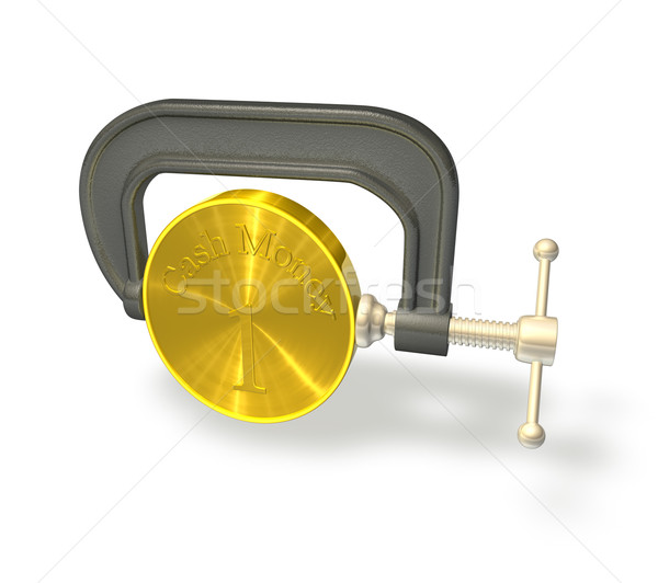 3d render illustration of a clamp or vice squeezing a coin to represent the credit crunch. Stock photo © Krisdog