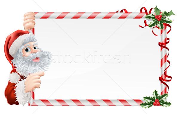 Stock photo: Christmas Santa Claus Sign