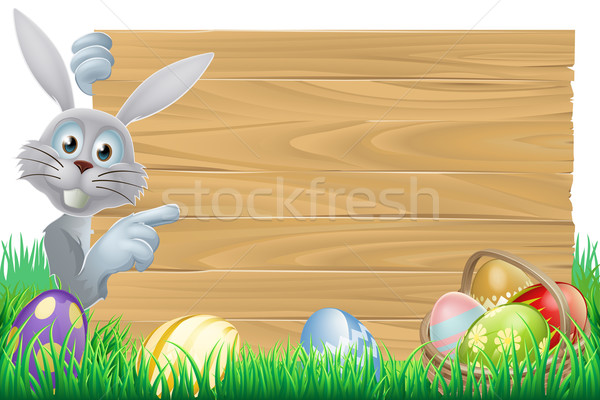 Easter bunny and eggs basket sign Stock photo © Krisdog